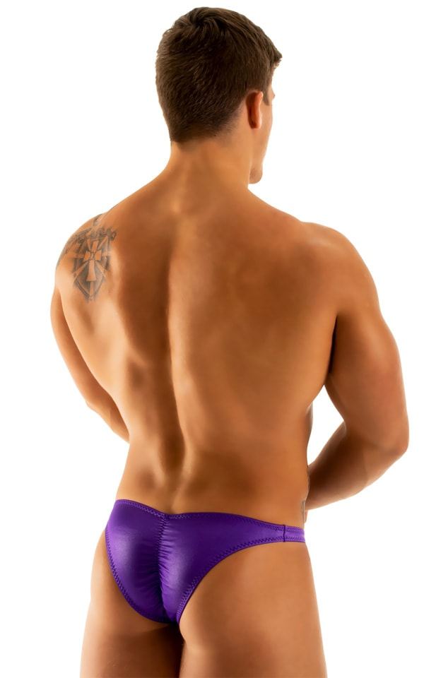 Posing Suit - Fitted Pouch - Puckered Back in Wet Look Purple 3