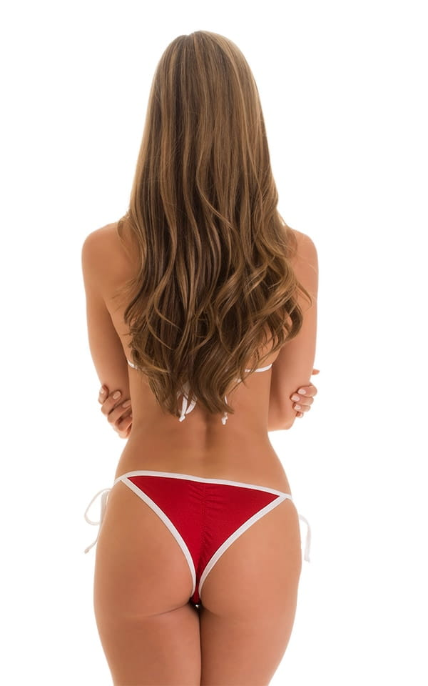 Cheeky Scrunchie Banded Side Tie Red & White 5
