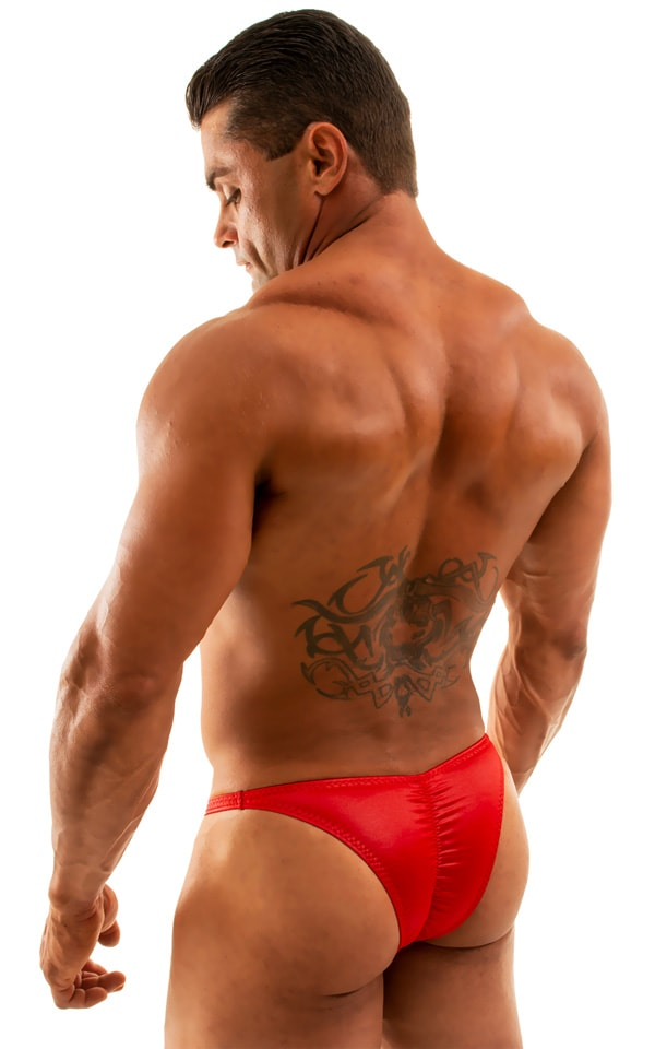 Posing Suit - Fitted Pouch - Puckered Back in Wet Look Lipstick Red 6