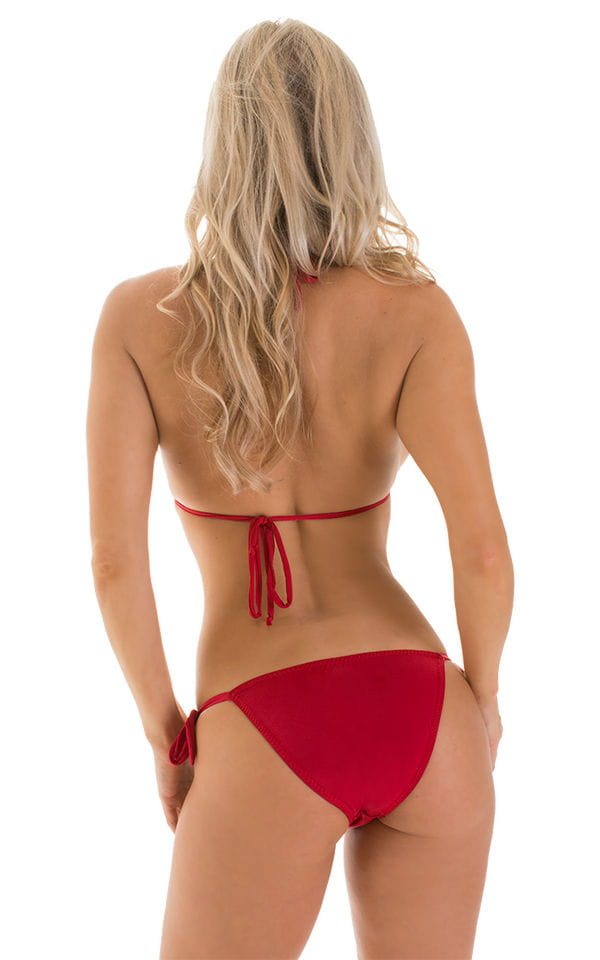 Low Rise Side Tie Brazilian Bikini Bottom in ThiSKINZ Red 2