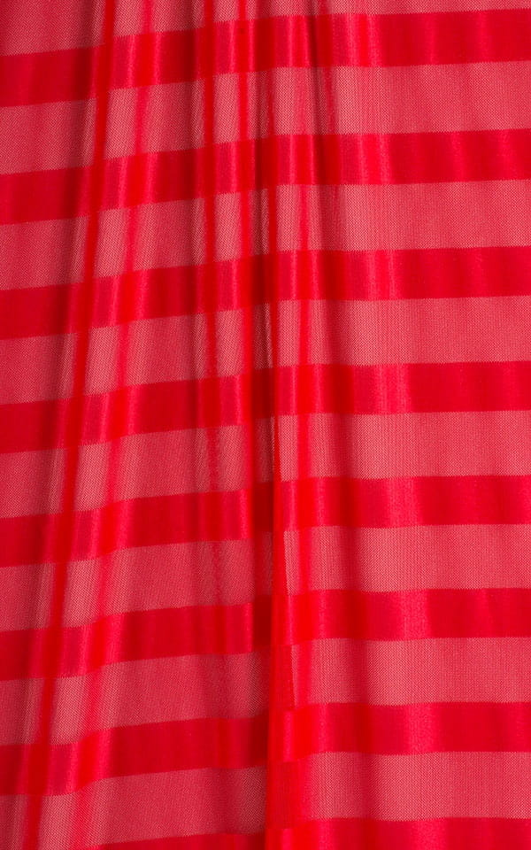 Micro Mini Skirt in Semi Sheer Red Satin Stripe and Mesh Fabric