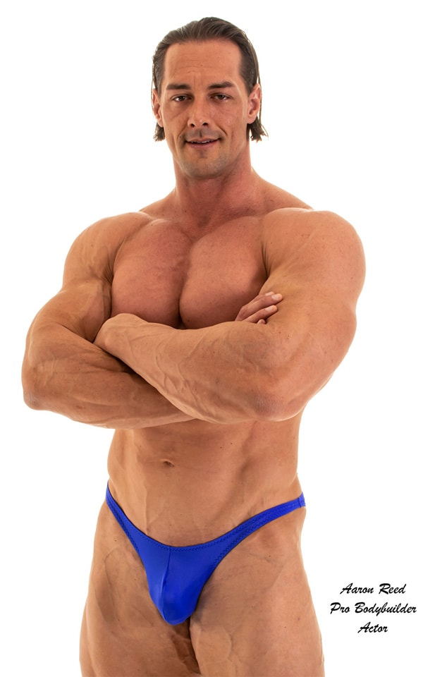 Posing Suit - Fitted Pouch - Puckered Back in Wet Look Royal Blue 4