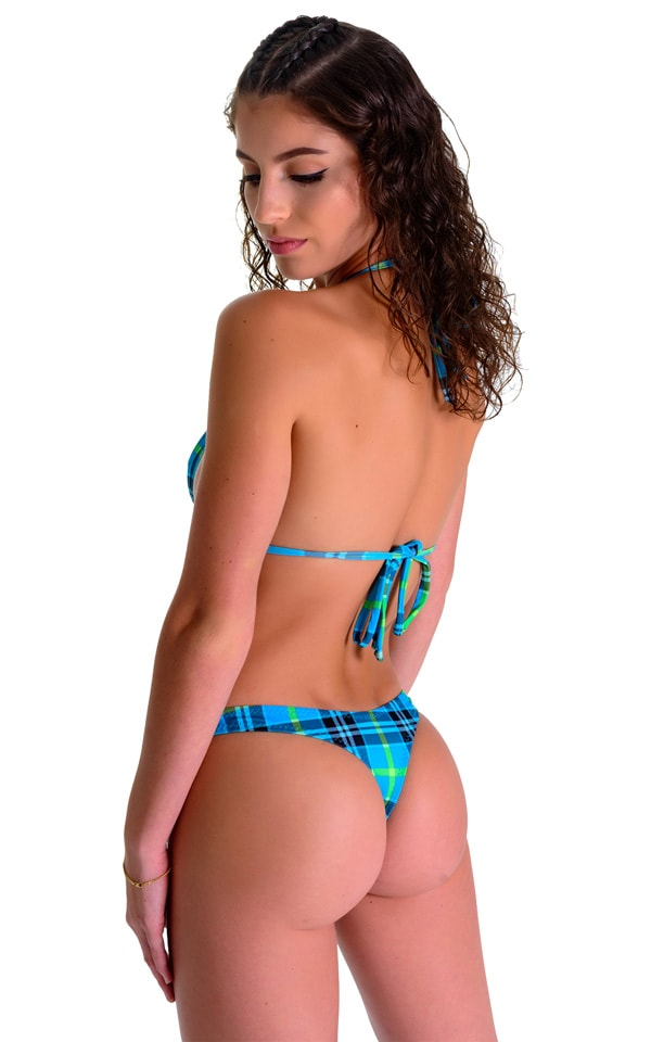 Low T Back Thong Bottom in Aqua Plaid 3