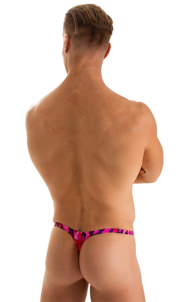 T Back Thong Swimsuit in Beach Tiger Pink 2