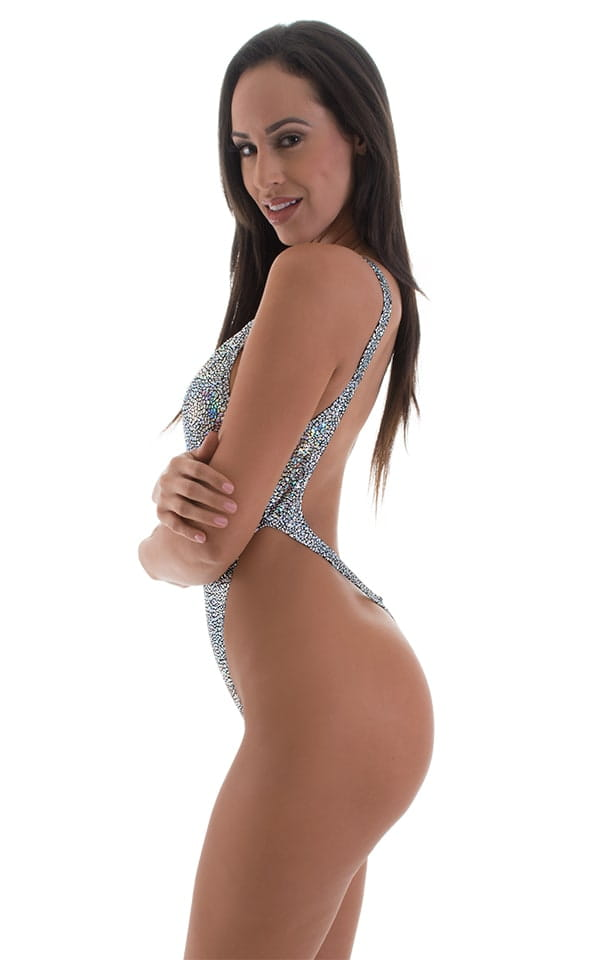 One Piece Thong Swim Suit in Holographic Diamonds 5