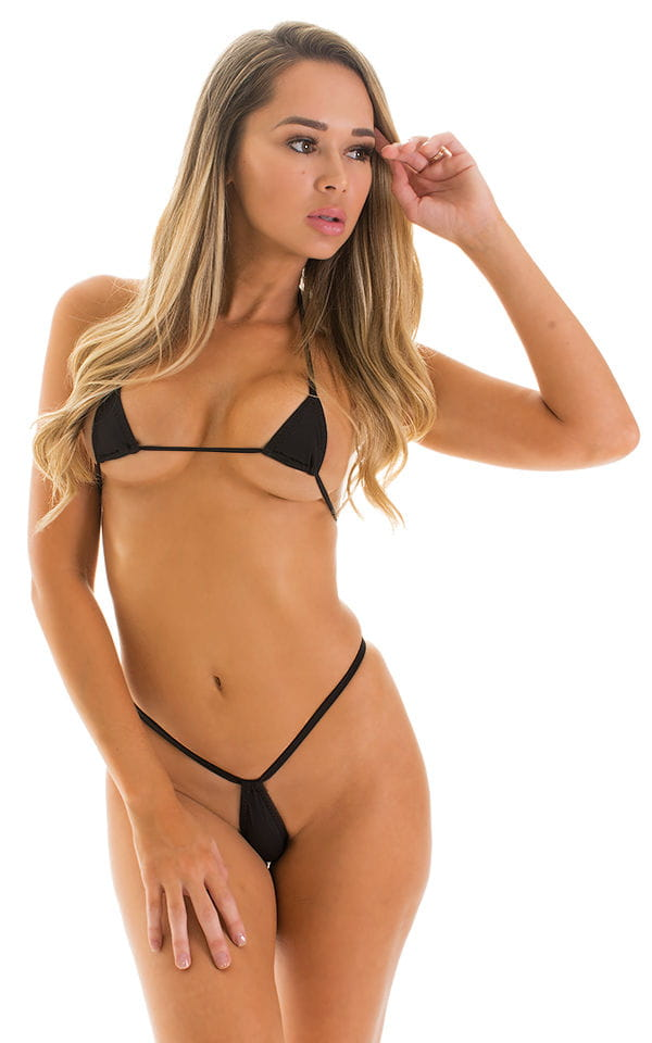 Teardrop G String Micro Bikini in Super ThinSKINZ Black 4