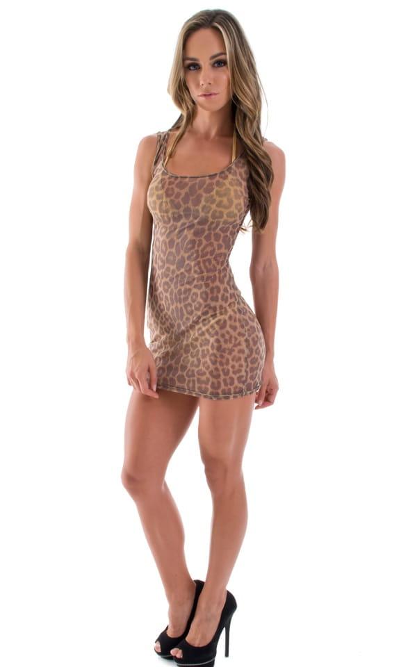 Short Sexy Mini Club Dress In Leopard Print On Semi Sheer