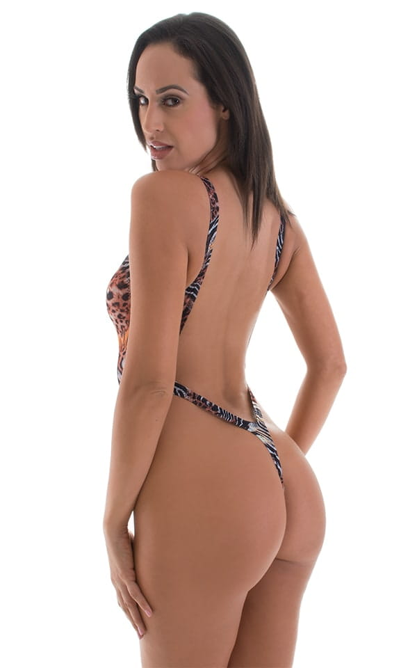 26beed0080c One Piece Thong Swim Suit in Super ThinSKINZ Ambush