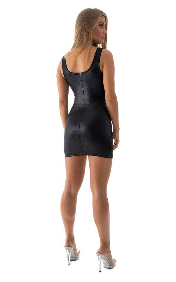 Micro Mini Dress in Wet Look Black 5
