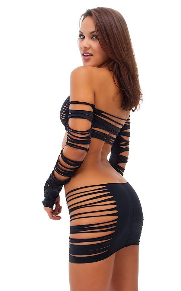 Womens Slashed Micro Mini Skirt in Black 3