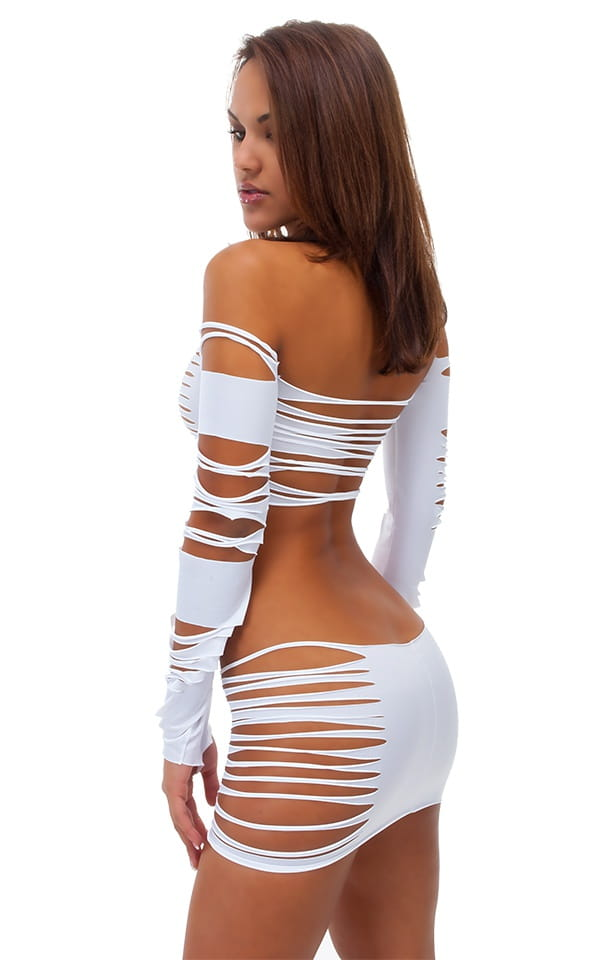 Womens Slashed Ming Top in Optic White 3