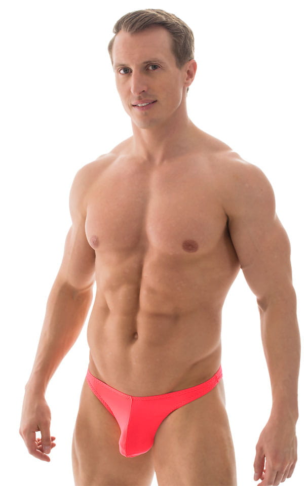 Large Pouch Swimsuit Bikini in Semi Sheer Neon Coral 1