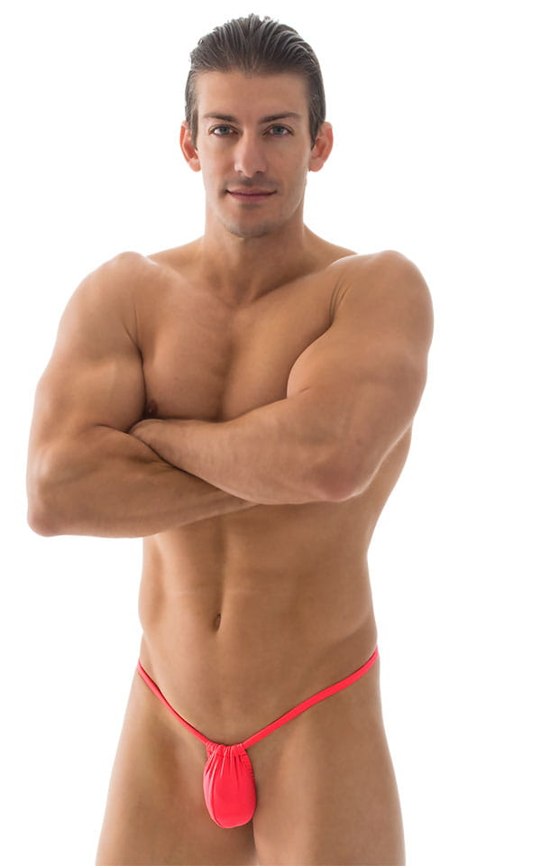 G String Swimsuit - Adjustable Pouch in ThinSKINZ Neon Coral 1