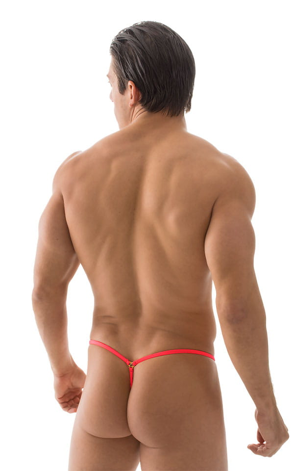 G String Swimsuit - Adjustable Pouch in ThinSKINZ Neon Coral 3