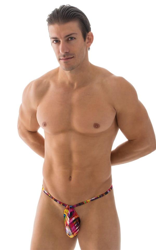 Micro Teardrop G String Swim Suit in ThinSKINZ Optic Plaid 1