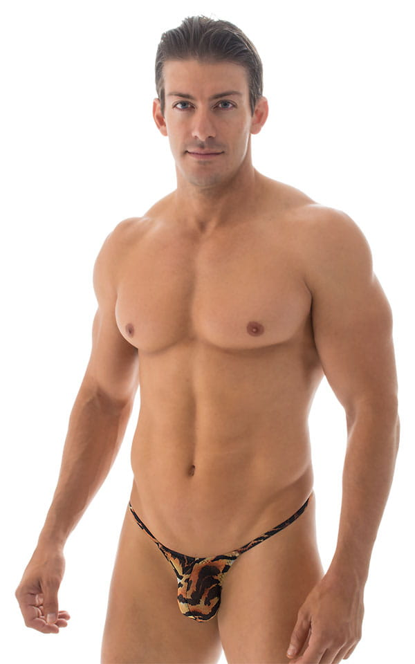 Stuffit Pouch G String Swimsuit in Semi Sheer Tiger Mesh 1