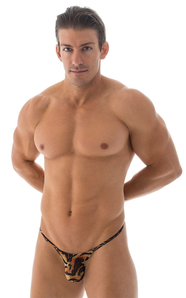 Stuffit Pouch G String Swimsuit in Semi Sheer Tiger Mesh 4