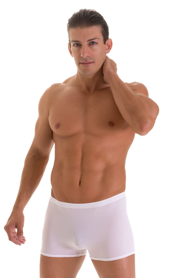 Square Cut Seamless Swim Trunks in Super ThinSKINZ White 1