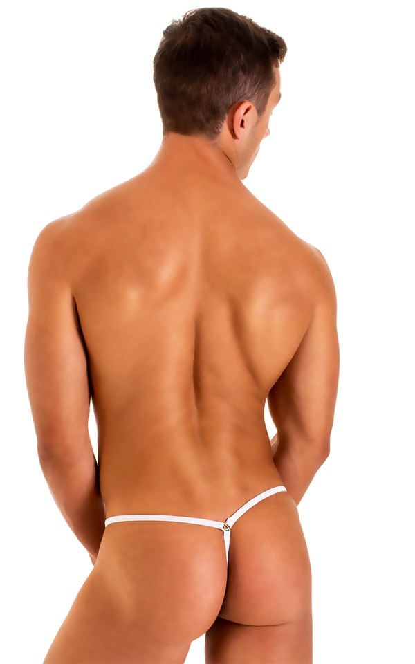 G String Swimsuit - Adjustable Pouch in Super ThinSKINZ White 3