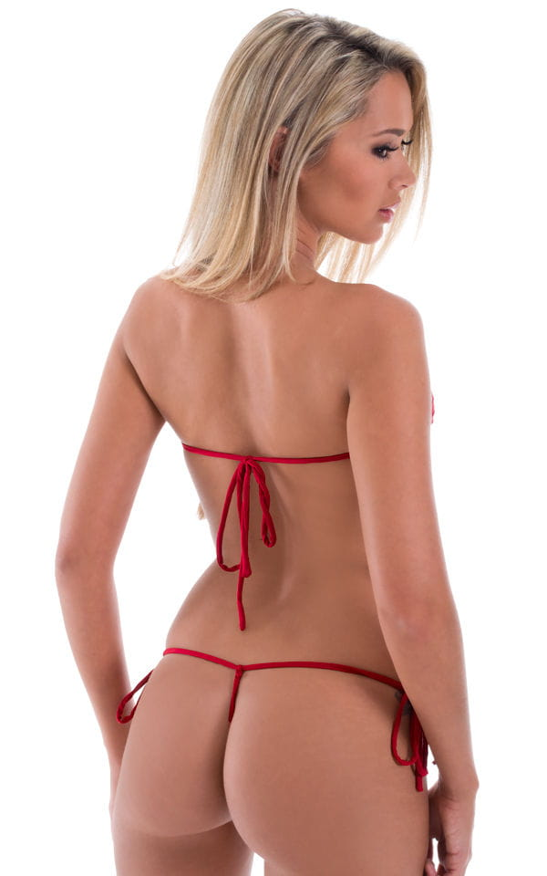 Micro G String Side Tie Bikini Bottom in Semi Sheer ThinSKINZ Lipstick Red 3