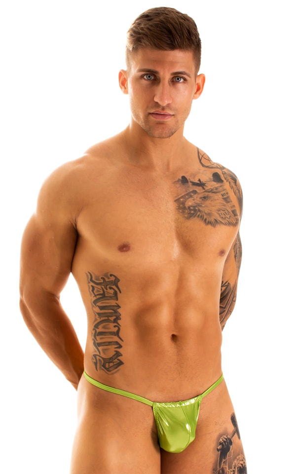 G String Swimsuit - Adjustable Pouch in Ice Karma Lemon-Lime  1