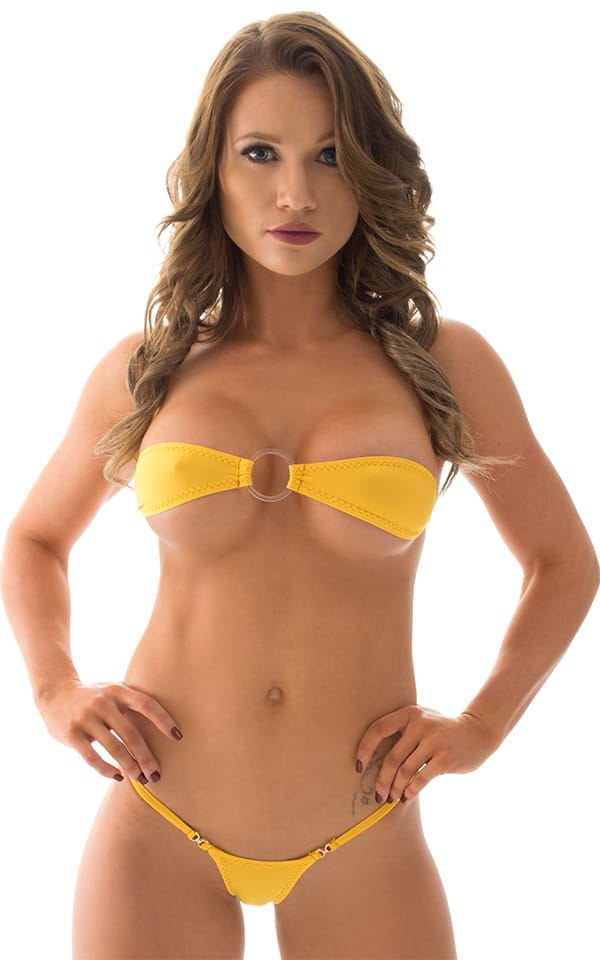 Mini Micro G String Bikini in ThinSkinz Sunset Yellow 1