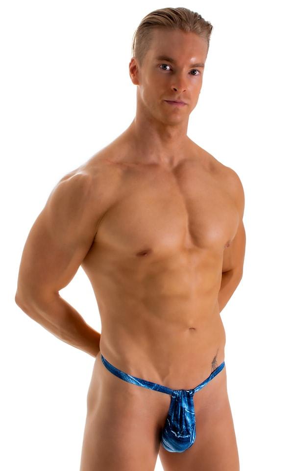 4-Way Adjustable Bikini-Tanga-Micro in Super ThinSKINZ Denim Patches 1