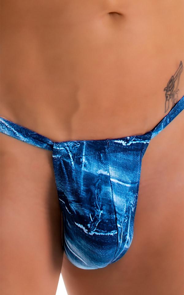 4-Way Adjustable Bikini-Tanga-Micro in Super ThinSKINZ Denim Patches 6