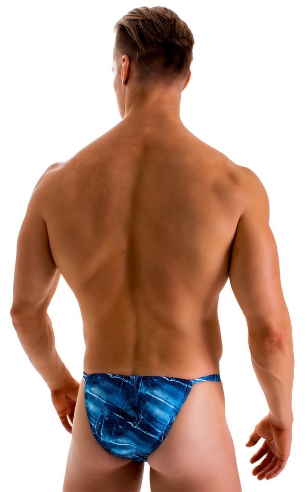 4-Way Adjustable Bikini-Tanga-Micro in Super ThinSKINZ Denim Patches 4