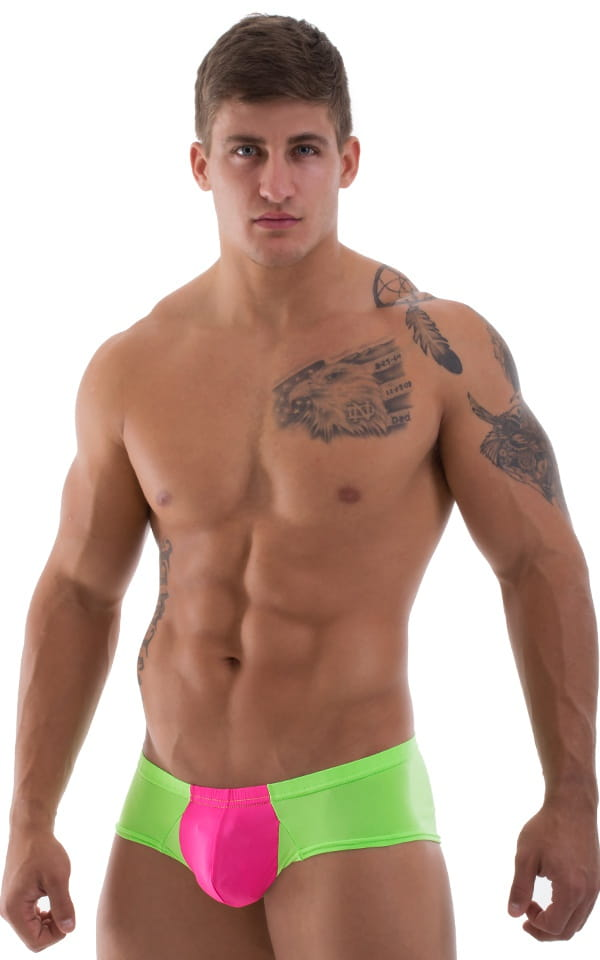 Pouch Enhanced Micro Square Cut Swim Trunks in Semi Sheer Neon Pink Lime 1