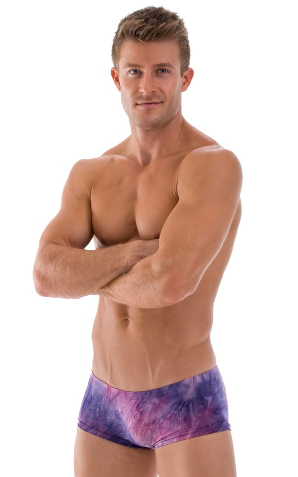 semi sheer purple swim trunks