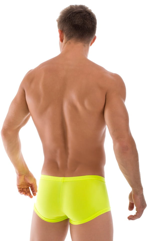 mens semi sheer yellow swim trunks rear