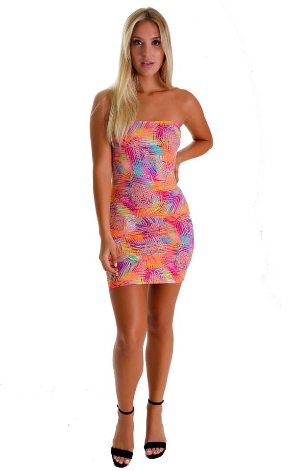 Mini Strapless Bodycon Dress in Jungle Palms Orange 4