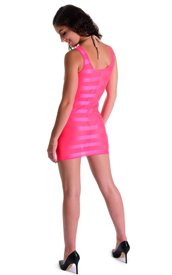 Mini Dress in Fuschia Satin Stripe 4