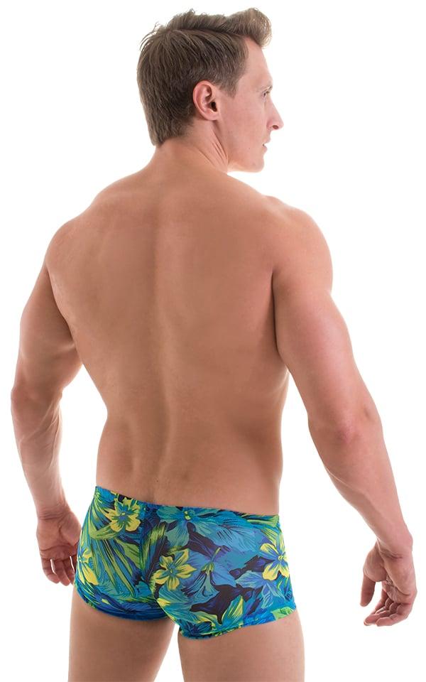 Extreme Low Square Cut Swim Trunks in Tan Through Tahitian 3