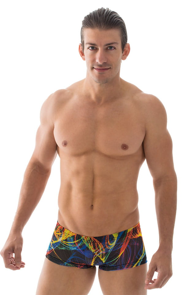 Extreme Low Square Cut Swim Trunks in Tan Through RaveUp 1