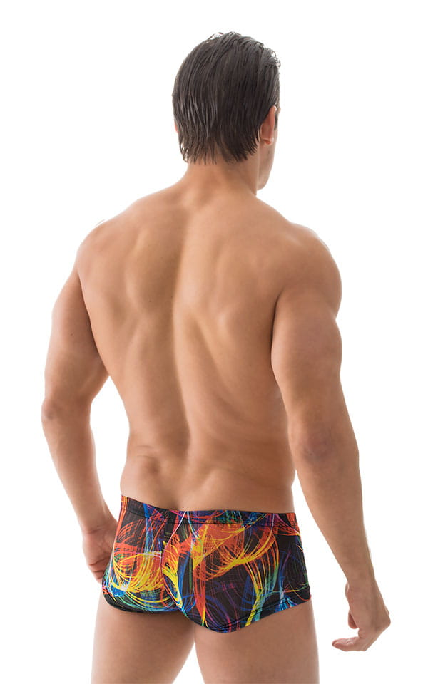 Extreme Low Square Cut Swim Trunks in Tan Through RaveUp 3