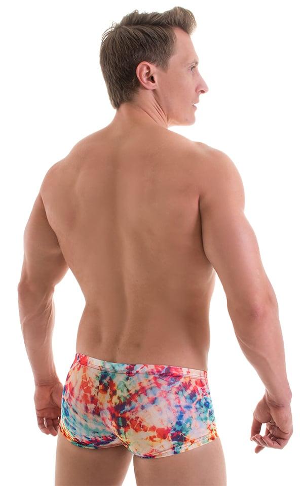 Extreme Low Square Cut Swim Trunks in Tan Through Tye Dye 3