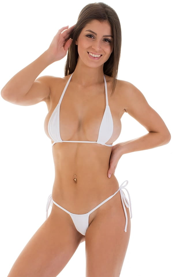 Micro G String Side Tie Bikini in White 1
