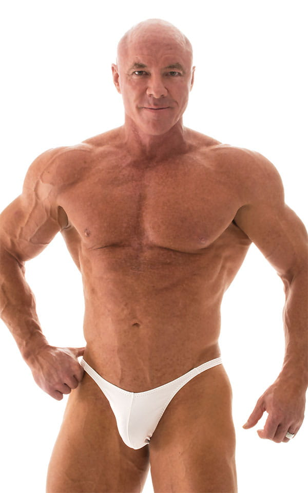 Fitted Pouch - Puckered Back - Posing Suit in Optic White 4