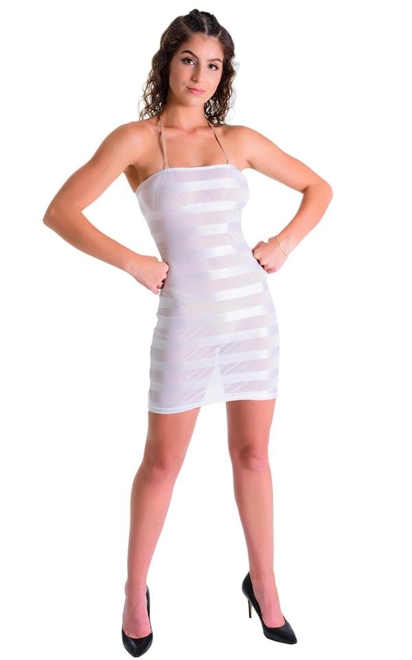 Mini Strapless Bodycon Dress in White Satin Stripe Mesh 3