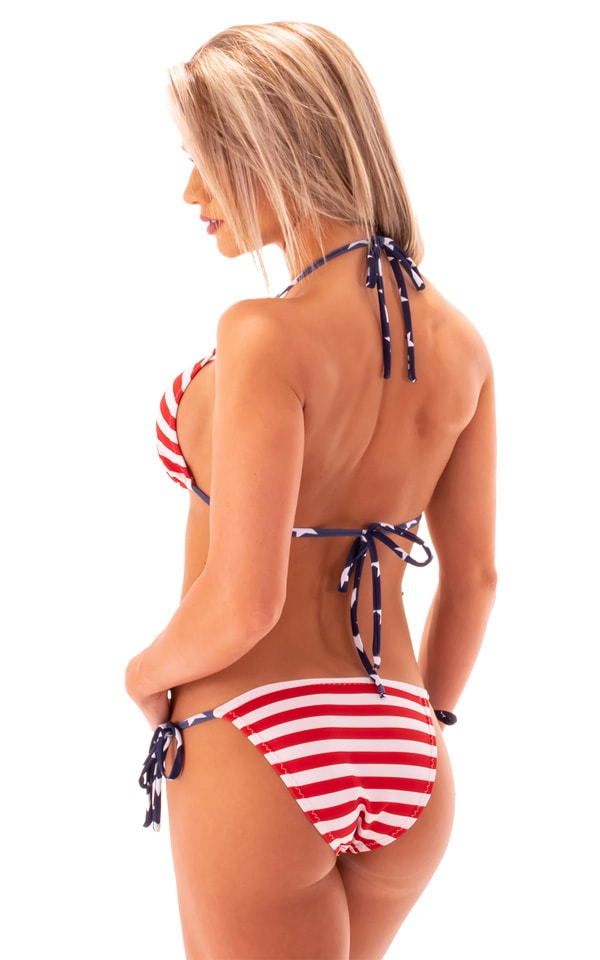 Low Rise Side Tie Brazilian Bottom in American Red Stripes 3