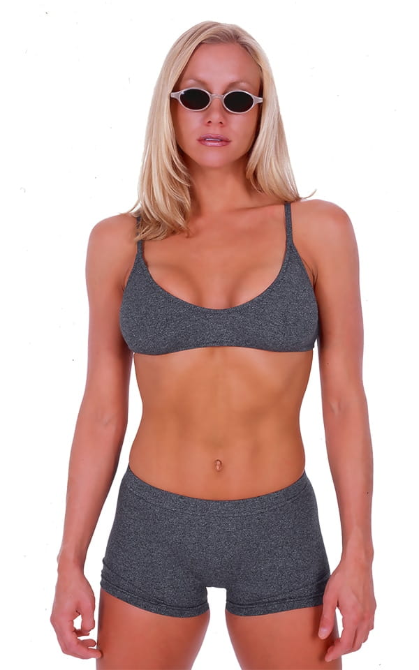 Womens Swim and Sport Fun Top in Dark Heather Grey Cotton-Spandex 10oz 1