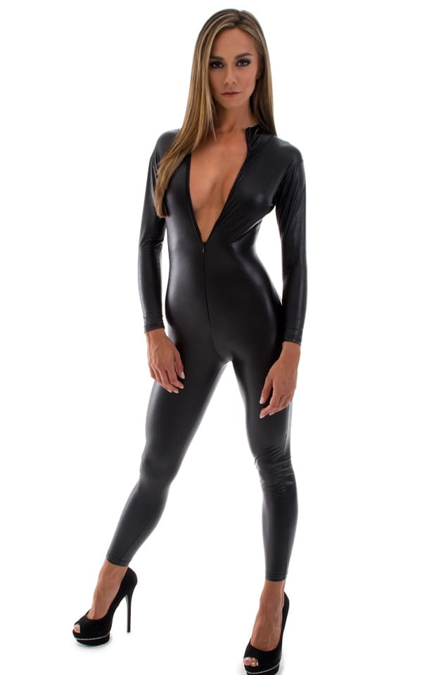 black leather catsuit