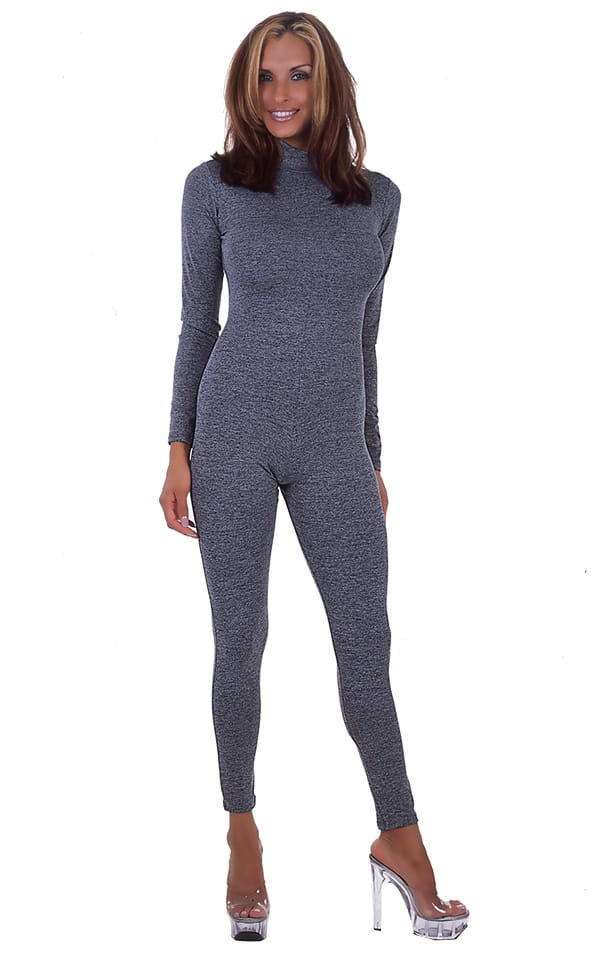 Back Zipper Catsuit Bodysuit in Charcoal Heather Grey cotton-lycra 1