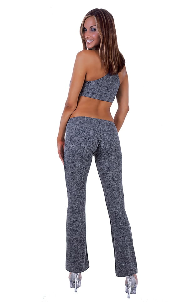 Womens Boot Cut Leggings - Fashion Tights in Charcoal Heather Cotton-Lycra 3