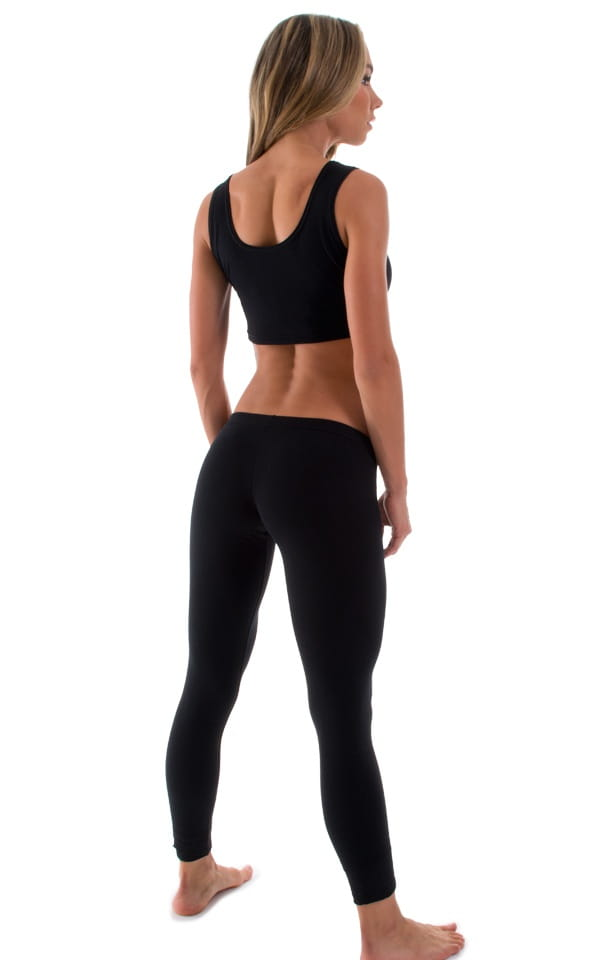 Womens Super Low Rise Fitness Leggings in Black Cotton Lycra 3