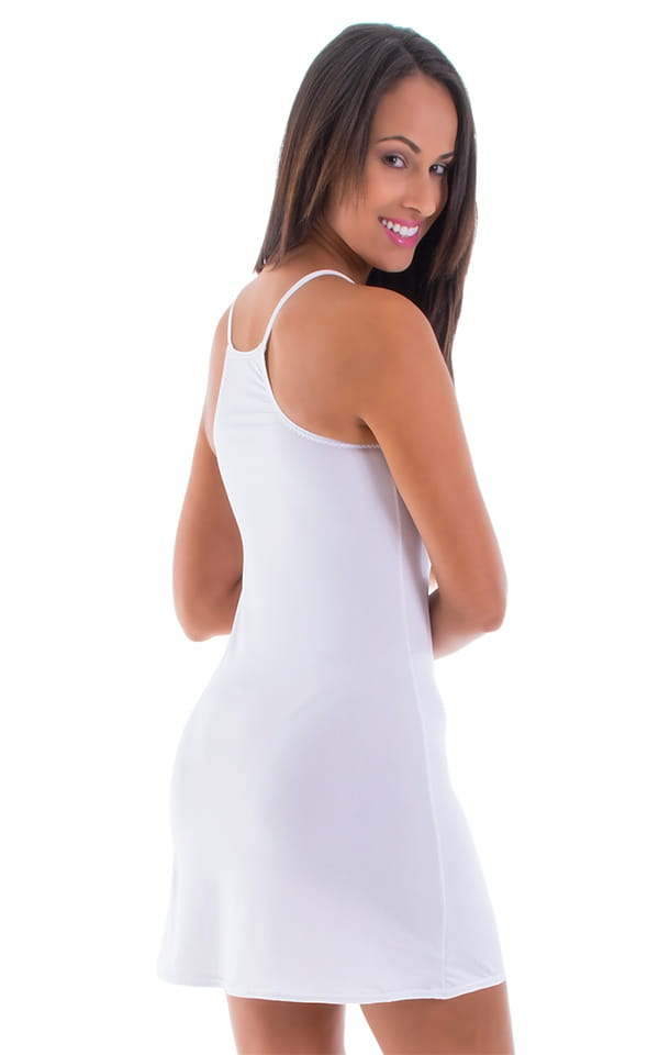 Beach Cover Up Flare Mini Dress in Semi Sheer ThinSKINZ White 3