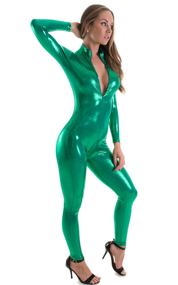 Front Zipper Catsuit-Bodysuit for in Metallic Green 4