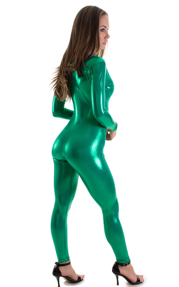 Front Zipper Catsuit-Bodysuit for in Metallic Green 3